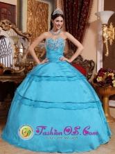 La Cruz Colombia Taffeta Appliques Sweetheart Aqua Blue Wholesale Quinceanera Dress For 2013 Style QDZY680FOR