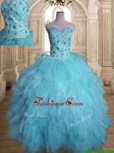 Latest Beaded and Ruffled Tulle Quinceanera Dress in Baby Blue SWQD142FOR