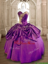Latest Eggplant Purple Quinceanera Dress with Beading and Ruffles SWQD170-1FOR
