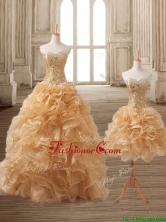 Latest Gold Detachable Quinceanera Dress with Beading and Ruffles SWQD166TZFOR