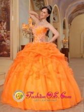 Los Andes Colombia Appliques and Pick-ups For 2013 sweetheart Orange Wholesale Quinceanera Dress With Taffeta and Organza Style QDZY350FOR