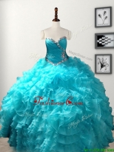 Low Price Beaded and Ruffled Organza Quinceanera Gown in Baby Blue SWQD103FOR