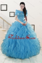 Luxurious 2015 New Style Strapless Sweet 15 Dresses with Beading and Ruffles XFNAOA19TZFXFOR