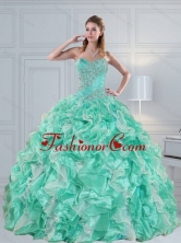 Luxurious Apple Green Sweetheart 2015 Quinceanera Dresses with Ruffles and Beading ZY791TZFXFOR