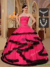 Luxurious Appliques Quinceanera Dresses in Red and Black   QDZY391BFOR