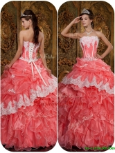 Luxurious Appliques Waltermelon Strapless Quinceanera Dresses QDZY018BFOR