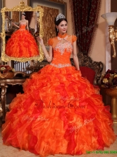 Luxurious Appliques and Beading Quinceanera Dresses in Orange  QDZY061DFOR