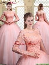 Luxurious Bateau Long Sleeves Beading and Appliques Quinceanera Dresses YCQD083FOR