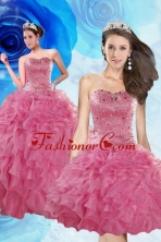 Luxurious Coral Red Quince Dresses with Beading and Ruffles XFNAOA06TZFOR