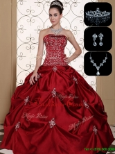 Luxurious Embroidery Strapless Sweet 16 Dresses in Wine Red  MLD090710FFOR
