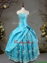 Luxurious Hand Made Flowers and Laced Quinceanera Dress in Baby Blue SWQD091FOR