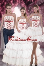 Luxurious Lovely White Quince Dresses with Appliques and Ruffled Layers for 2015 XFNAO415TZA1FOR