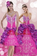 Luxurious Multi Color Sweep Train 2015 Quince Dresses with Pick Ups and Embroidery XFNAOA53TZFOR