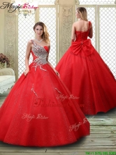 Luxurious One Shoulder Quinceanera Dresses with Beading in Red YCQD058FOR