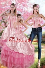 Luxurious Pink Strapless 2015 Quinceanera Dresses with Embroidery and Ruffles XFNAO417TZA1FOR
