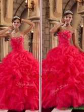 Luxurious Red Sweetheart Quinceanera Gowns with Ruffles QDZY293CFOR
