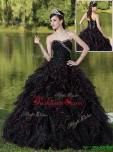 Luxurious  Ruffles Layered and Beading Quinceanera Gowns in Black  ZY781CFOR