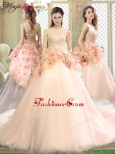 Luxurious Scoop Court Train Quinceanera Dresses with Hand Made Flowers YCQD055FOR