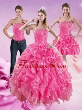 Luxurious Sophisticated Hot Pink Sweet 16 Dresses with Beading and Ruffles XFNAO5822TZA1FOR