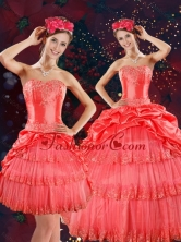Luxurious Strapless Quinceanera Dresses with Beading and Pick Ups in Coral Red XFNAO147TZFOR