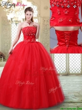 Luxurious Strapless Quinceanera Dresses with Hand Made Flowers YCQD077FOR
