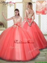 Luxurious Straps Quinceanera Dresses with Appliques and Hand Made Flowers YCQD051FOR