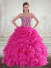 Luxurious Sweetheart Hot Pink 2015 Quinceanera Gown with Beading and Ruffles LFY091906TZFXFOR