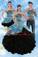 Luxurious Zebra Print Strapless Multi Color Sweet 15 Dresses with Ruffles and Pick Ups XFNAO435TZA1FOR