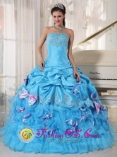 Miraflores Colombia Wholesale Romantic Aqua Quinceanera Dress Appliques Decorate Bust With Pick-ups and Bowknot Ball Gown for Graduation Style PDZY747FOR