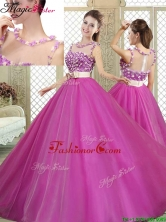 Modern Scoop  Quinceanera Dresses with Belt and Appliques YCQD079FOR