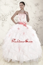 Most Popular White Quinceanera Dresses with Pink Appliques and Ruffles XFNAO5932AFOR