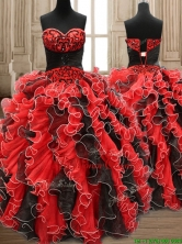 New Arrivals Applique and Ruffled Quinceanera Dress in Black and Red SWQD159FOR