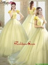 New Arrivals Bateau Brush Train Quinceanera Dresses  YCQD053FOR