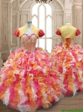 New Arrivals Multi Color Quinceanera Dress with Beading and Ruffles SWQD133FOR