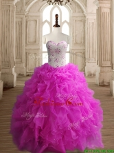 New Arrivals Really Puffy Fuchsia Quinceanera Dress with Beading and Ruffles SWQD148-4FOR