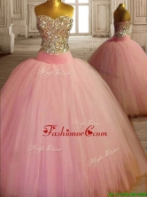 New Style Beaded Bodice Baby Pink Sweet 16 Dress in Tulle SWQD121-2FOR