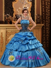 Nobsa Colombia Ball Gown  Blue Pick-ups Wholesale Quinceanera Dress With Straps Taffeta Appliques Style QDZY039FOR
