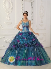Nueva Granada Colombia Teal Appliques and Hand Made Flowers Pick-ups Straps Wholesale Quinceanera Dress For 2013 Style QDZY321FOR