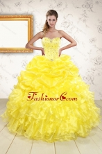 Popular Sweetheart Yellow Quinceanera Dresses with Beading XFNAOA03FOR