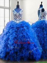 Popular V Neck Beading and Ruffles Sweet 16 Dress in Royal Blue SWQD114FOR