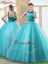 Pretty Bateau Quinceanera Dresses with Ruffles in Teal YCQD064FOR