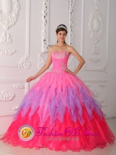 Quinceanera 2013 San Benito Abad Colombia Colorful Dress With Ruched Bodice and Beaded Decorate Bust Style QDZY354FOR