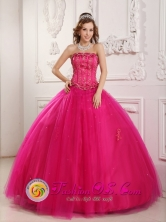 Rivera Colombia Gorgeous strapless beaded Hot Pink Wholesale Quinceanera Dress For formal Style QDZY140FOR