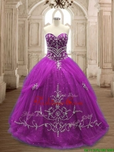 Romantic Applique Eggplant Purple Tulle Quinceanera Dress with Brush Train SWQD137-2FOR