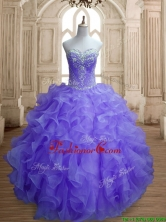 Romantic Organza Beading and Ruffles Quinceanera Dress in Lavender SWQD155-4FOR