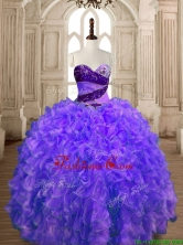 Romantic Organza Beading and Ruffles Sweet 16 Dress with Puffy Skirt SWQD175-3FOR