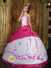 San Pablo Colombia Embroidery Rose Pink and White Strapless Satin Ball Gown For 2013 Wholesale Quinceanera Style QDZY037FOR