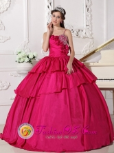 San Pedro Colombia Graduation Hand Made Flowers Hot Pink Spaghetti Straps Ruffles Layered Gorgeous Quinceanera Dress With Taffeta Beaded Decorate Bust Style QDZY514FOR