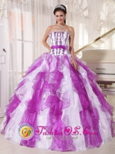 San Pedro Colombia White and Purple Embroidery Ruffles With Hand Made Flower Wholesale Quinceanera Dress For 2013 Style PDZY519FOR