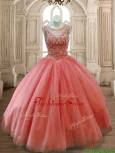 See Through Scoop Beading Quinceanera Dress in Rust Red SWQD169-3FOR